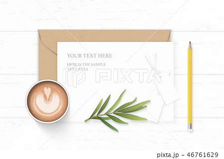 Flat lay top view elegant white paper composition 46761629