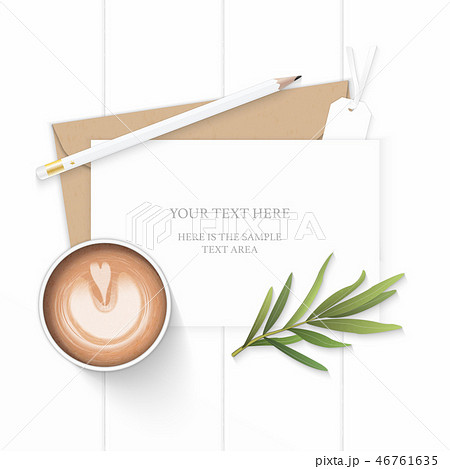 Flat lay top view elegant white paper composition 46761635