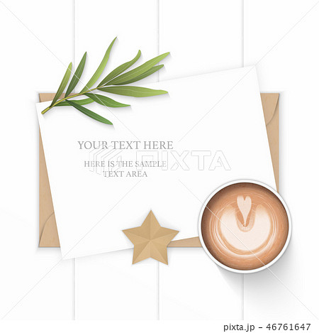 Flat lay top view elegant white paper composition 46761647