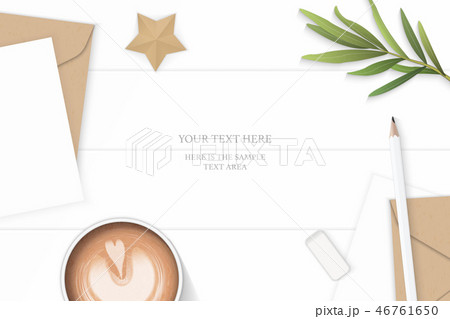 Flat lay top view elegant white paper composition 46761650