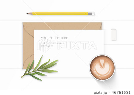 Flat lay top view elegant white paper composition 46761651