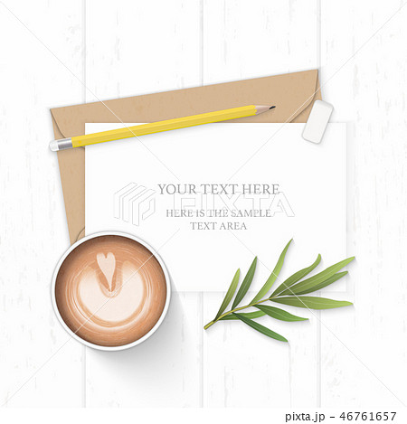Flat lay top view elegant white paper composition 46761657