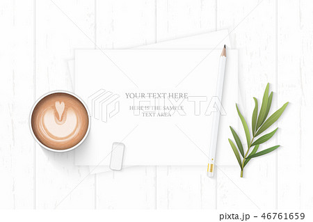 Flat lay top view elegant white paper composition 46761659
