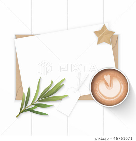 Flat lay top view elegant white paper composition 46761671