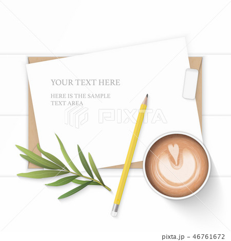 Flat lay top view elegant white paper composition 46761672