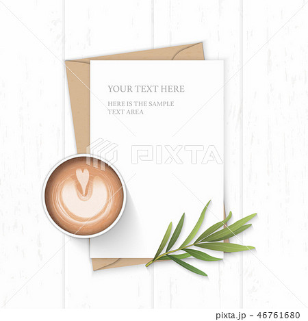 Flat lay top view elegant white paper composition 46761680