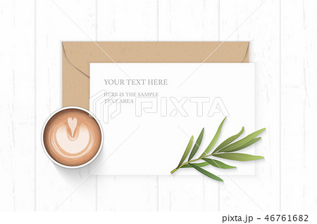 Flat lay top view elegant white paper composition 46761682