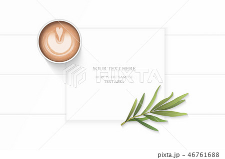 Flat lay top view elegant white paper composition 46761688