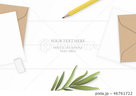 Flat lay top view elegant white paper composition 46761722