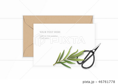 Flat lay top view elegant white paper composition 46761778