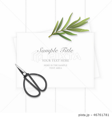 Flat lay top view elegant white paper composition 46761781