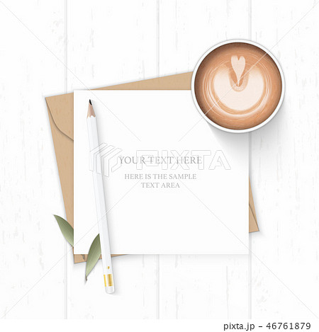 Flat lay top view elegant white paper composition 46761879