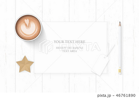 Flat lay top view elegant white paper composition 46761890
