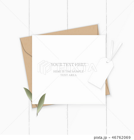 Flat lay top view elegant white paper composition 46762069