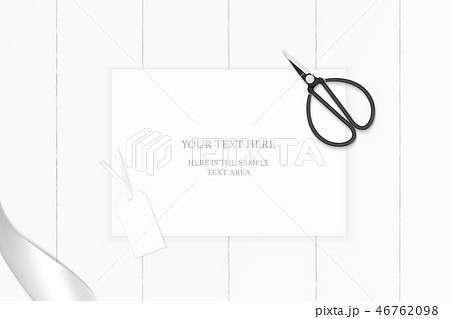Flat lay top view elegant white paper composition 46762098