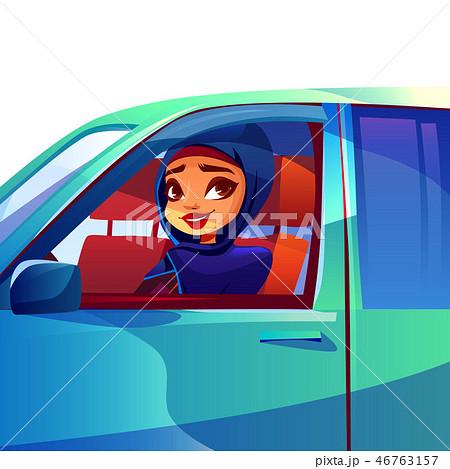 Arabian woman driving car illustration 46763157