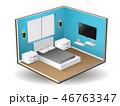 ベクトル ベッド ベッドルームのイラスト 46763347