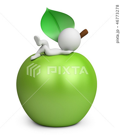 3d small people - lying on an apple 46773278