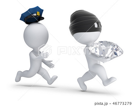 3d small people - thief stole the diamond 46773279