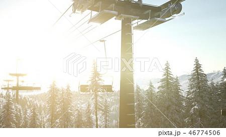 empty ski lift. chairlift silhouette  46774506