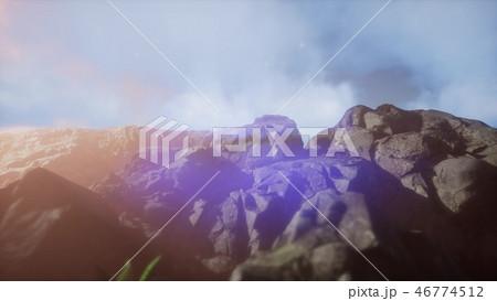 mountain peak in the mist 46774512