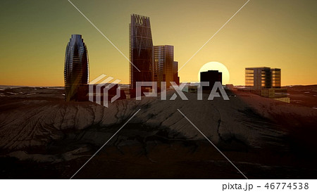 city skyscrapes in desert at sunset 46774538