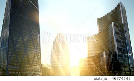 city skyscrapes with lense flairs at sunset 46774545