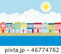 街並み 海 夏のイラスト 46774762