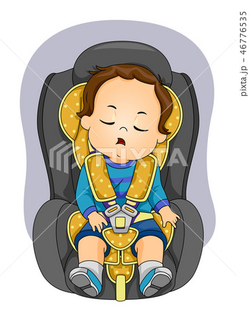 Toddler Boy Sleep Car Seat Illustration 46776535