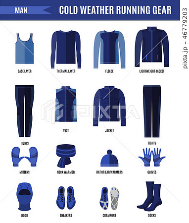 Winter running clothes set for man in flat style. 46779203