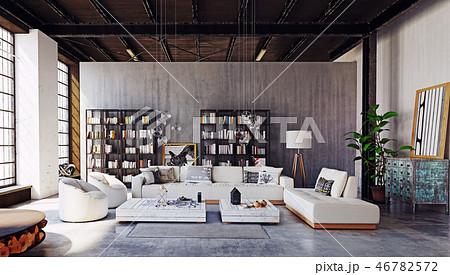 modern loft living room interior. 46782572