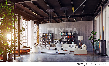 modern loft living room interior. 46782573