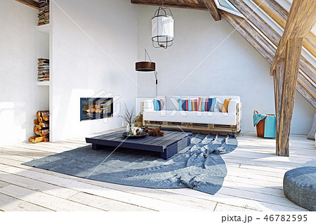 modern attic interior design. 3d rendering concept 46782595