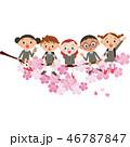 桜に座る子供達 46787847