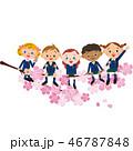 桜に座る笑顔の子供達 46787848