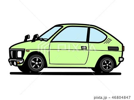 レトロな軽自動車 薄緑色 自動車イラスト 46804847