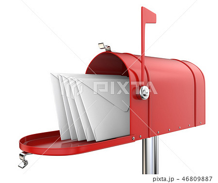 Red Mailbox with envelopes. 46809887