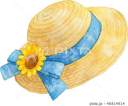 向日葵の麦わら帽子のイラスト素材 46814614 Pixta