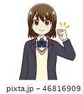 女子 ガッツポーズ やる気のイラスト 46816909