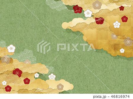 和モダンな背景素材 和紙の風合い 梅 抹茶色 46816974