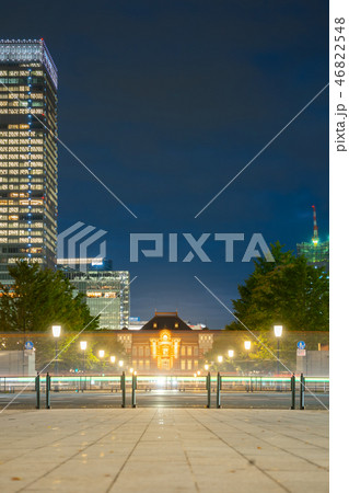 Tokyo train station building with light trails 46822548
