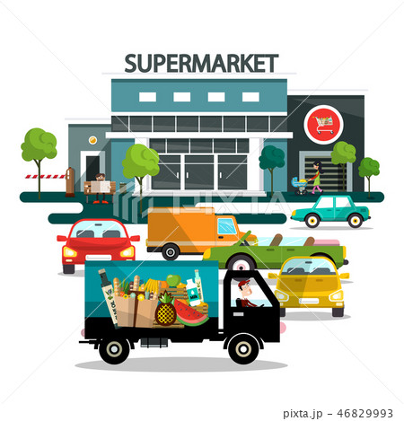 Supermarket Building with Cars 46829993