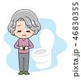 腹痛 トイレ 下痢のイラスト 46830355