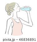 水 飲む 女性のイラスト 46836891