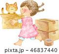 女の子 猫 荷造りのイラスト 46837440