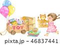 女の子 猫 荷造りのイラスト 46837441
