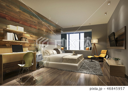 bedroom suite in hotel with tv and working table 46845957