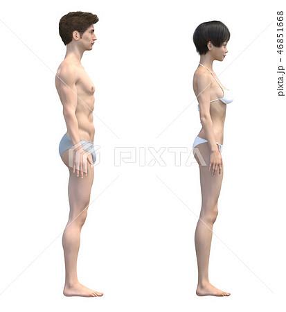 男女の体 比較イメージ 下着着用 イラスト perming3DCGイラスト素材 46851668