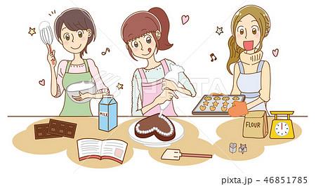 お菓子作りをする女性のイラストのイラスト素材