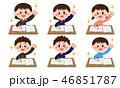 学生 勉強 ガッツポーズのイラスト 46851787
